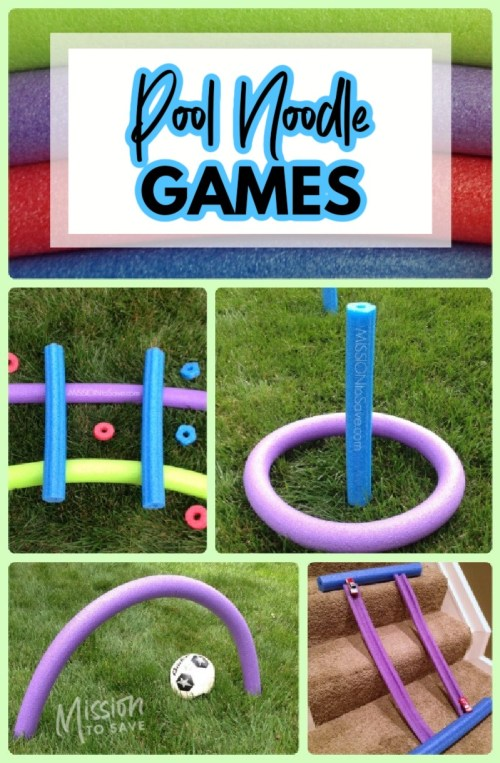 collage of pictures of pool noodle games without water
