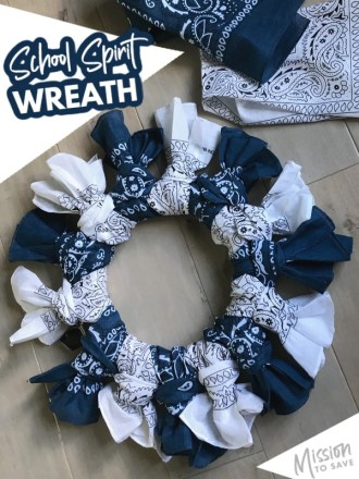 bandana wreath to show school spirit colors