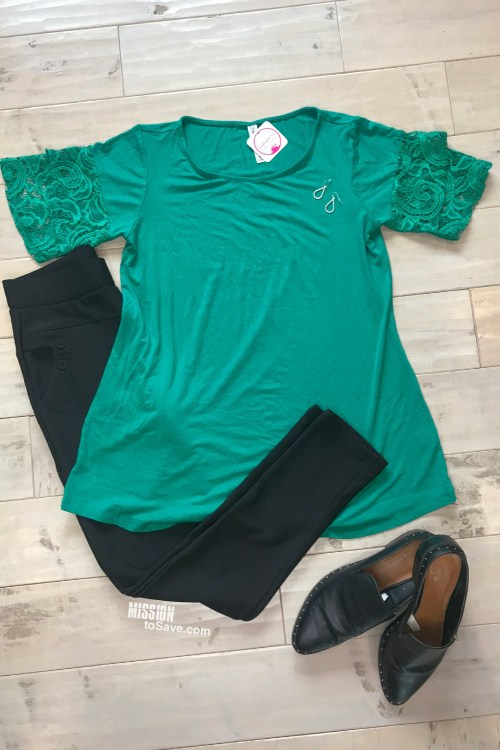 Green shirt and leggings flatlay from Nadine West
