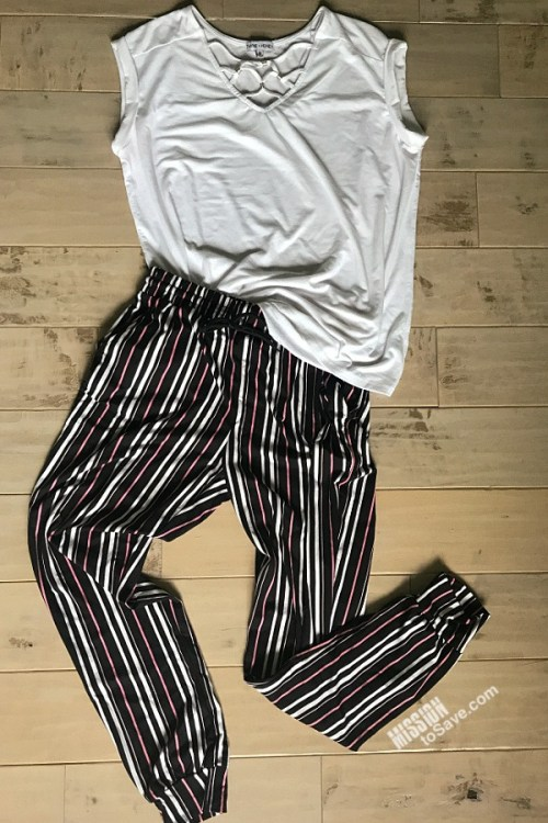 Comfy and trendy striped joggers and detailed white tee from Nadine West