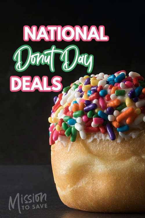 close up off doughnut with text national donut day deals