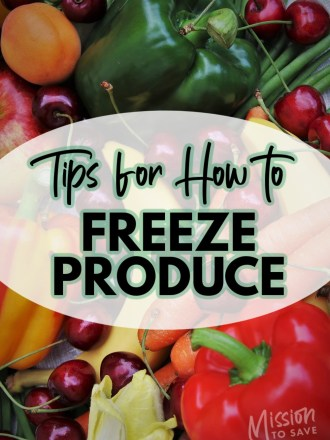 fruit and vegetables with text overlay tips for how to freeze produce