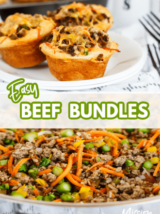 beef bundles made from biscuits and skillet of meat and vegetables