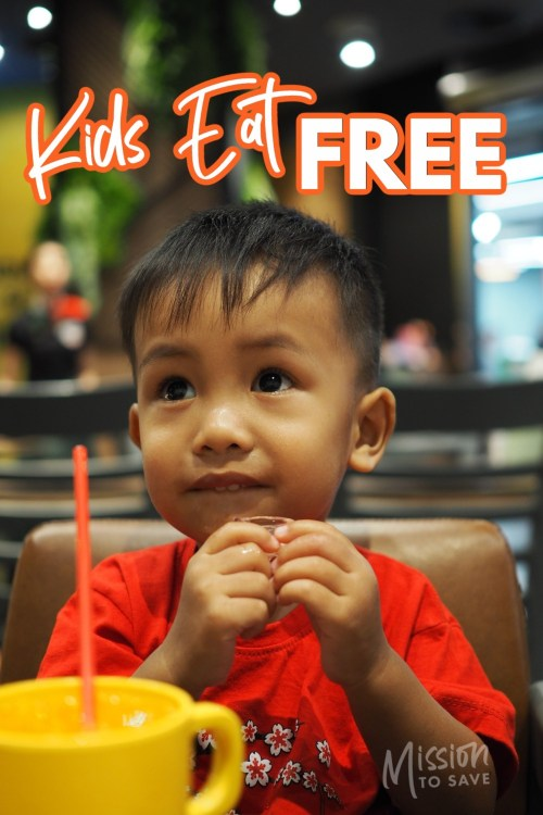 child in restaurant with text kids eat free