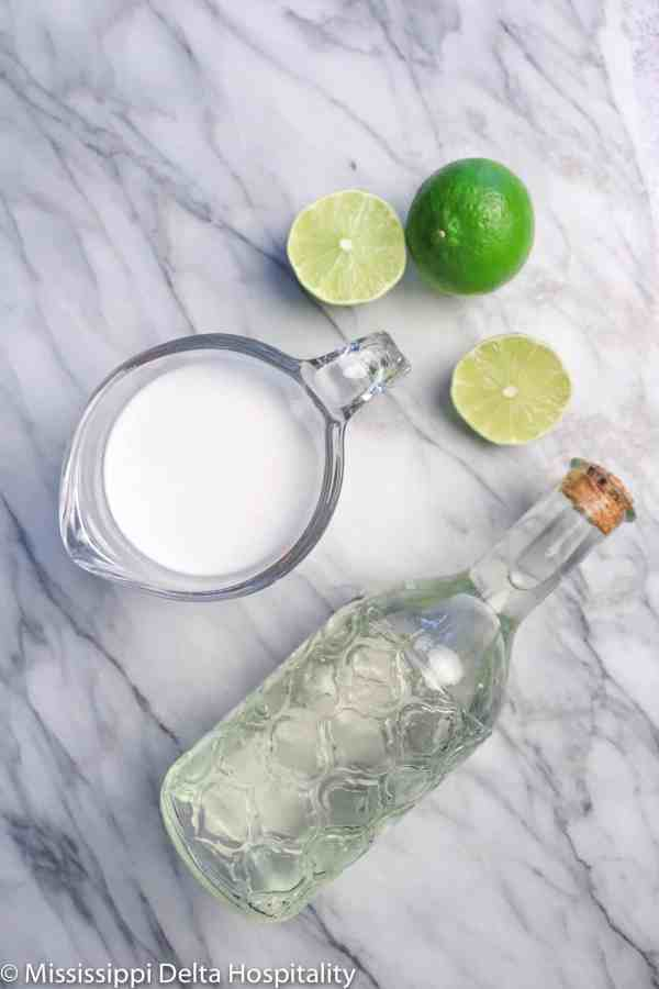 simple syrup, coconut milk, and lime slices on a marble board