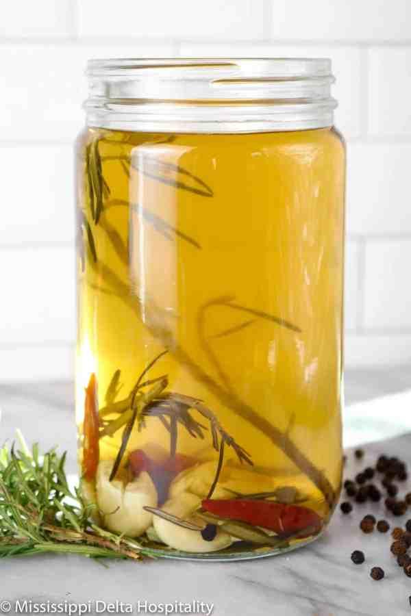 turkey brine in a jar on a marble board