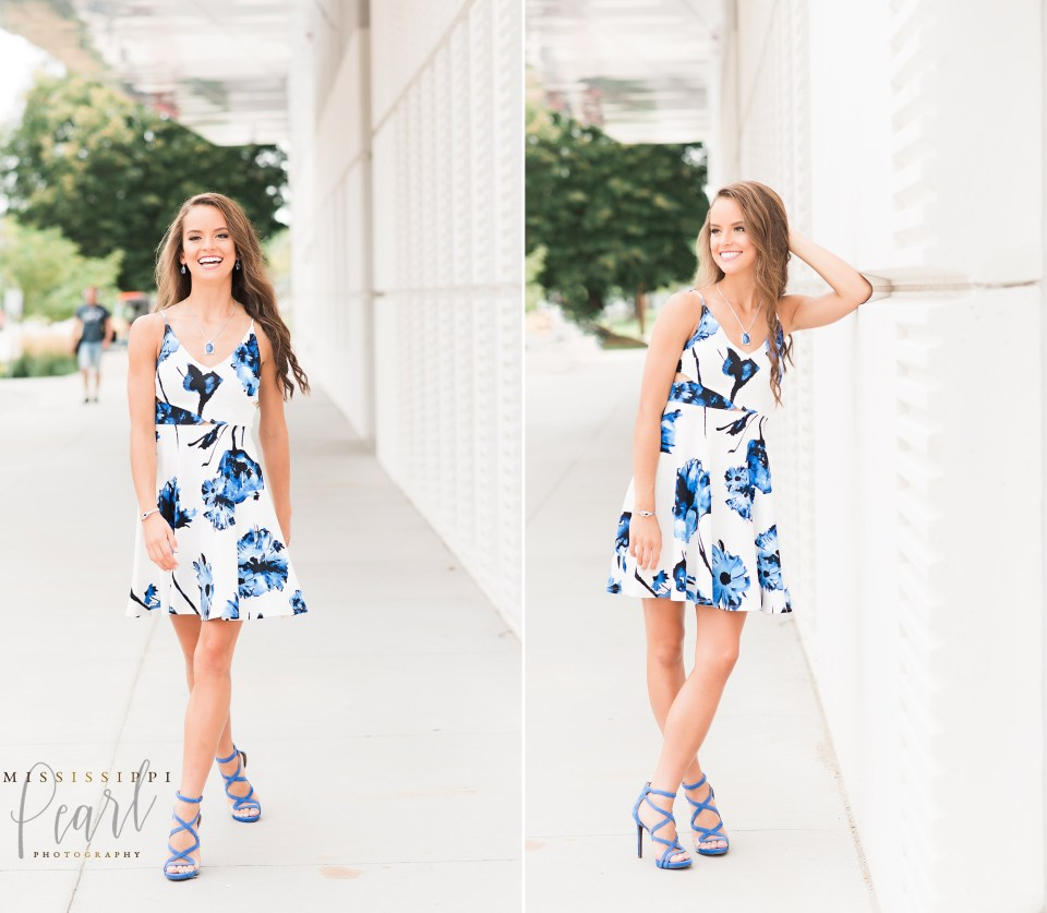 fun fashion senior pictures in downtown Iowa City with Mississippi Pearl Photography, cute floral dress
