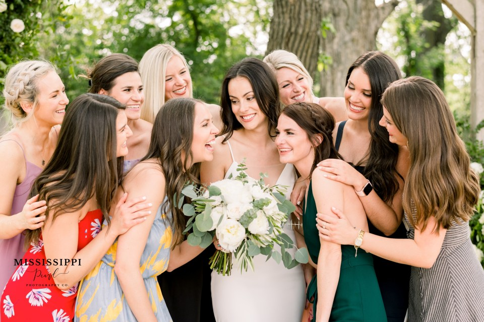 Bride and her friends laughing
