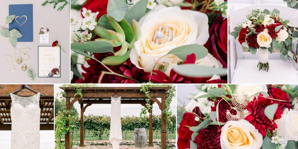 Bridal details including flowers, the bride's Justin Alexander wedding dress hanging among the vines.