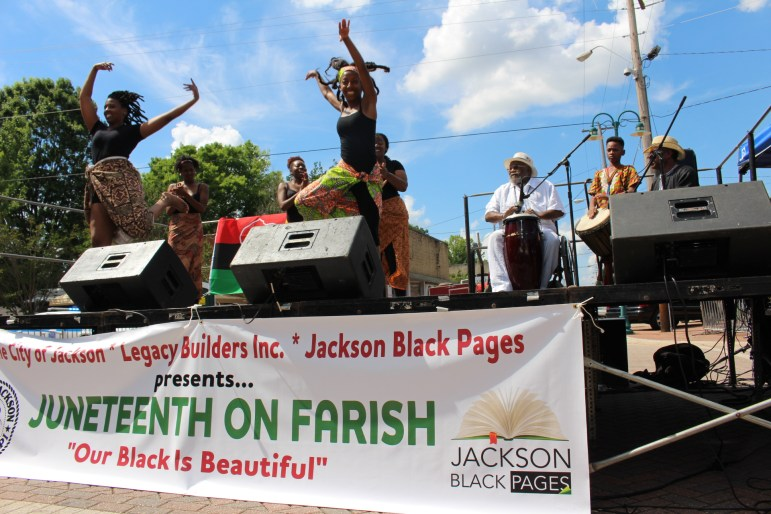 The Djeliya Drum & Dance Collections perform the Macru dance from Guinea West Africa at Juneteenth Festival on Farish Street.