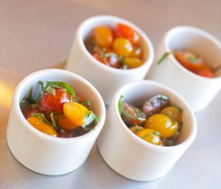 Heirloom tomato salad prepared by students at the Farmer's Table Cooking School in Livingston.