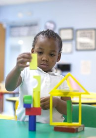 Alaysiah Oliver works with blocks in the preschool class at Charleston Elementary.