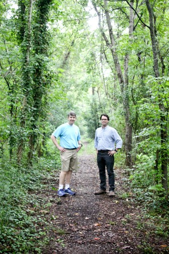 Clay Hays, left, stands with David Pharr on the former GM&O Railway, the proposed site of the Museum to Market Trail in Jackson.