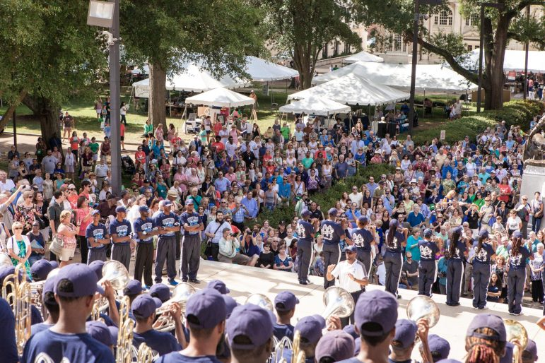 The Jackson State University Sonic Boom band plays at opening ceremony for the 2015 Mississippi Book Festival.