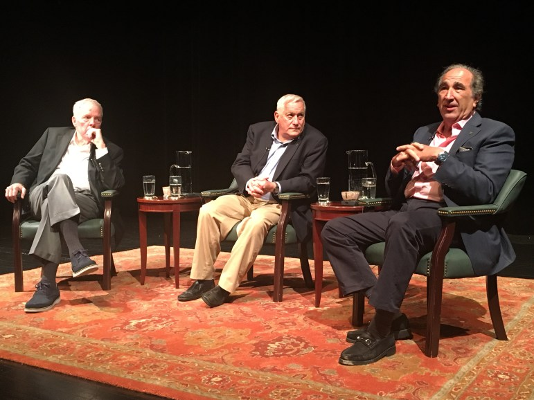 Andrew Lack, right, speaks about new media at a Mississippi Today conversation on new media's impact on presidential politics. The panel, hosted by Delta State University and moderated by Jim Barksdale, left, included Aspen Institute CEO Walter Isaacson, center.