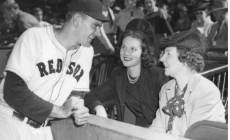 Boo Ferriss is pictured before Game 3 of the 1946 World Series with sister Martha (center) and his mother Lellie Meadow Ferriss. Ferriss threw a six-hit shutout in Game 3 and then gave his mother the baseball.