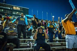 Fans get fired up for the Battle of 61, the annual hometown rivalry football game between Cleveland High School and East Side High School held at Delta State University.