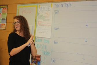 Parks Elementary and second-year Teach For America teacher Mary Katherine Honeycutt goes over the day's lesson plans for her 4th grade class.