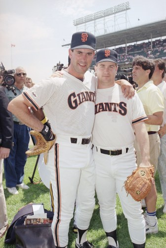 San Francisco Giants Will Clark (left) and Jeff Brantley during the National League practice preceding the All Star game July 9, 1990 ,at Chicago's Wrigley Field.