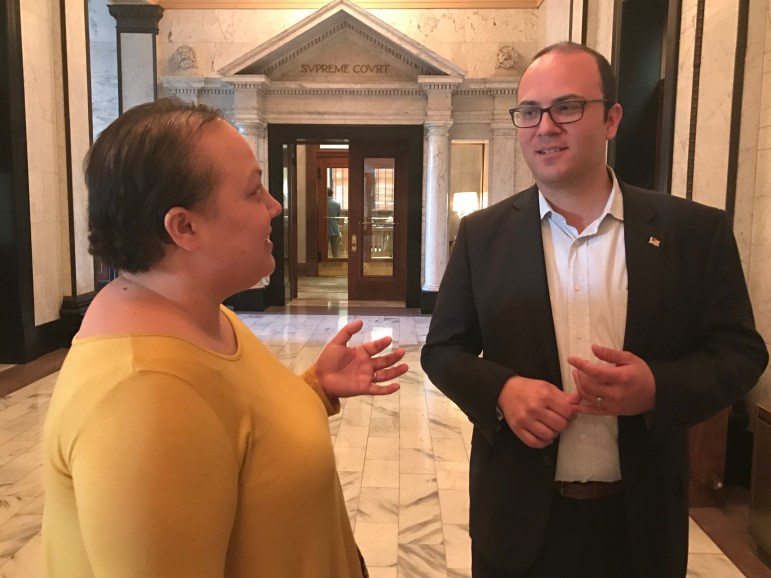 Nicole Matis with her husband, Ron. She testified on Wednesday before the Senate Committee on Public Health and Welfare about how naturopathic medicine helped her rebound from chemotherapy treatments last year.