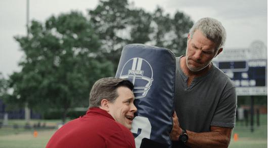 """Chris Marroy learns """"blocking"""" from Brett Favre."""