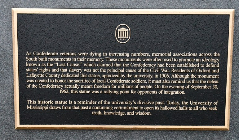 Revised language on the plaque at the Confederate statue on the Circle at Ole Miss. The new plaque was installed this week.
