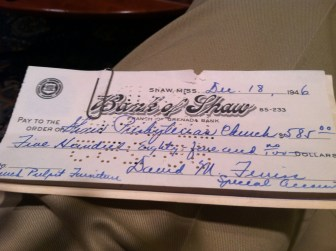 A photo of the check Boo Ferriss wrote in 1946 to pay for a new pulpit for his church.