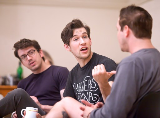 "Actors, from left, Austin Hohnke, Austin Thomas and Austin Wayne Price discuss their roles in ""Million Dollar Quartet"" at New Stage Theatre."
