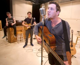 "Austin Wayne Price rehearses for the role of Johnny Cash in ""Million Dollar Quartet"" at New Stage Theatre."
