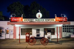 A night view of the old service station at Dockery Farms