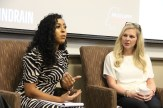 Mississippi Today social media editor Sereena Henderson (left) talks during a panel on millennials in Mississippi with C Spire Director of Recruitment Mary Claire Parrish.