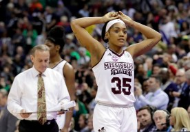Mississippi State's Victoria Vivians, right, and head coach Vic Schaefer, following Notre Dame's game-winning shot at the buzzer that denied State its first ever national title.