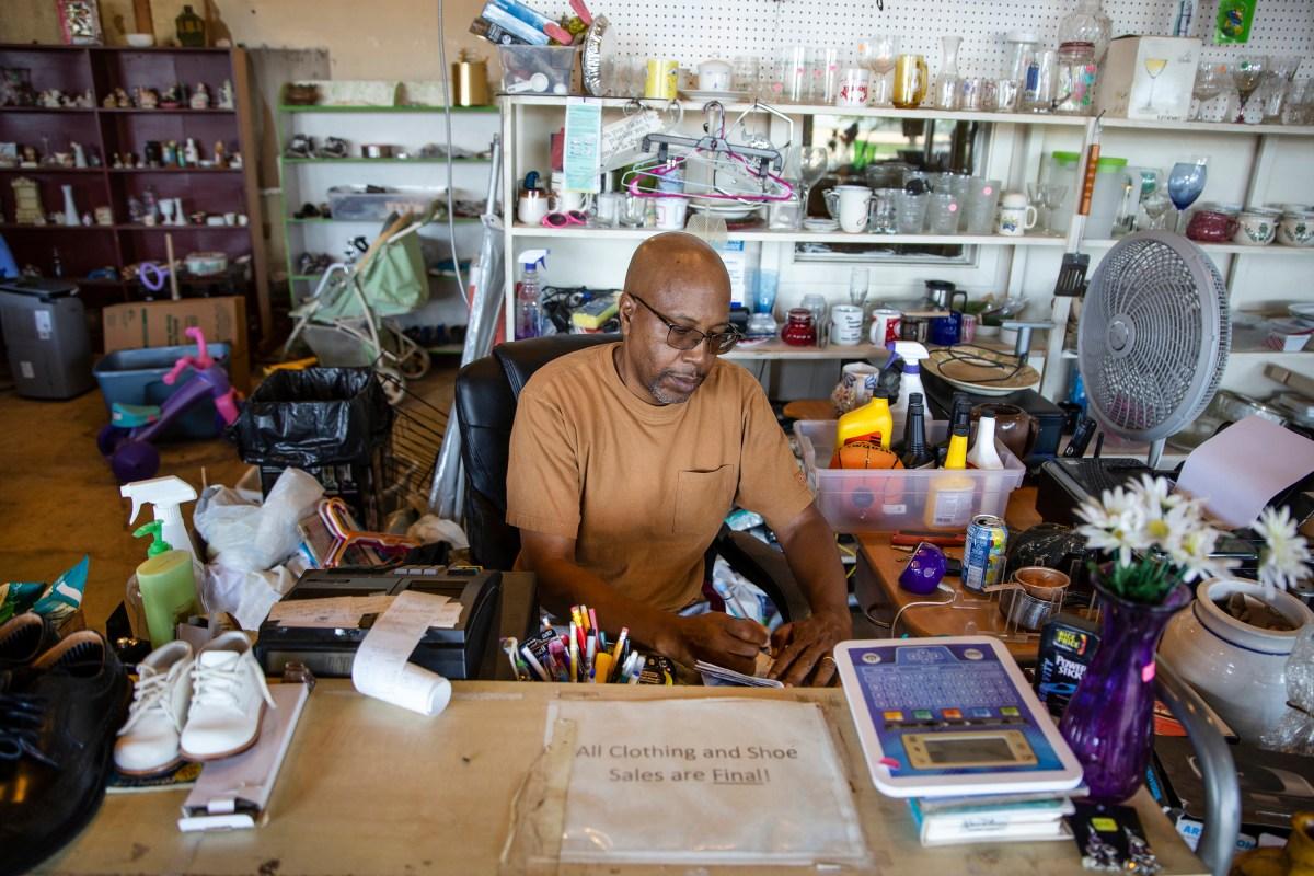 Worker at desk. Utica. Mississippi