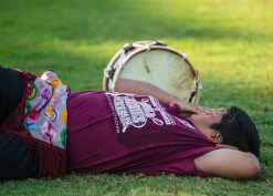 A drummer takes a rest between quarters during the World Series of Stickball at the Choctaw Indian Fair in Choctaw Wednesday, July 11, 2018.