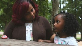 LaQuisha Smith and her daughter chat in a park near their former home. She is looking for work and a new place to live, but wants to keep her kids in the school district. Smith and thousands of others throughout Mississippi are fighting the same fight - eviction notices. Mississippi ranks No. 8 in the nation for evictions.