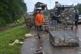 Clean up crews pick up chickens after an 18-wheeler wreck