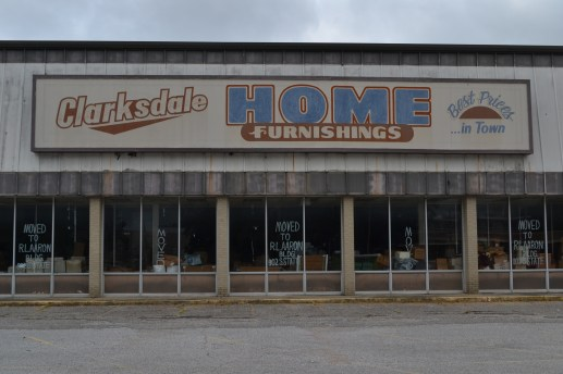 Old, empty furniture store in Clarksdale