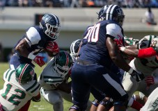 Jackson State's Jordan Johnson tries to get past Mississippi Valley State's defense during JSU's homecoming game Saturday, October 13, 2018.