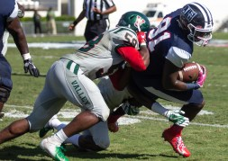 Jackson State's Keene Young attempts to get past Mississippi Valley State University defense during JSU's homecoming game Saturday, October 13, 2018.