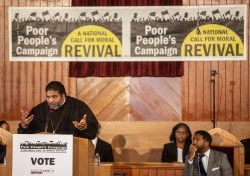 Rev. William Barber II speaks during a Poor People's Campaign event at Greater Mt. Calvary Baptist Church Wednesday, October 24 in Jackson.
