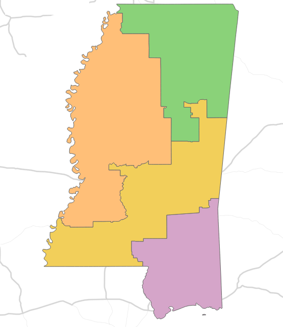 color-coded district voting map