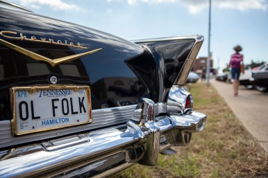 """A classic Chevrolet Bel Air with the license plates """"Ol Folk"""" is on display during the Biloxi Block Party in the 22nd Annual Cruisin' The Coast event on the Gulf Coast Wednesday, October 3, 2018."""