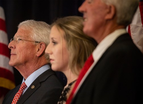 Sen. Roger Wicker, left, listens as Sen. Cindy Hyde-Smith speaks to supporters during her watch party at the Westin Jackson Tuesday, November 6, 2018.