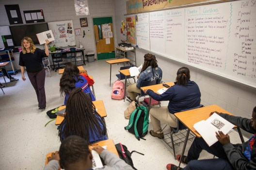"Kaitlyn Barton discusses the graphic novel ""Maus"" with her English class at Clarksdale High School Wednesday, October 31, 2018."