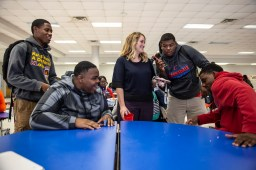 Kaitlyn Barton has a conversation about football with students during lunch at Clarksdale High School Wednesday, October 31, 2018.