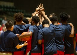 Ole Miss players huddle before their game against Southeastern Louisiana at the Mississippi Coliseum Wednesday, December 12, 2018.