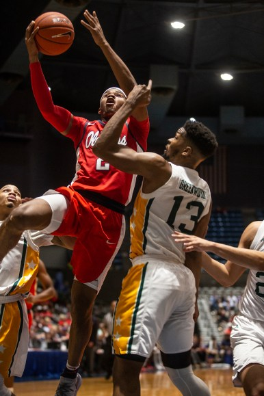 Ole Miss' Devontae Shuler (2) goes up for a shot during their game against Southeastern Louisiana at the Mississippi Coliseum Wednesday, December 12, 2018.