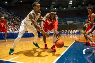 Ole Miss' Terence Davis (3) reaches for a rebound during their game against Southeastern Louisiana at the Mississippi Coliseum Wednesday, December 12, 2018.