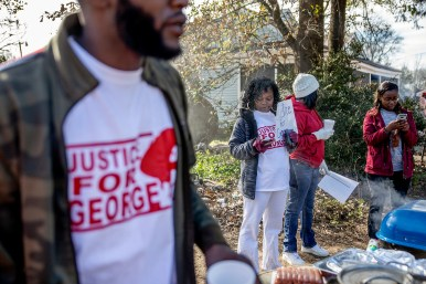 Family, friends and supporters gather to remember George Robinson and protest police on Jones Avenue in Jackson Monday, January 21, 2019.