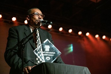 Gospel singer Leonard Williams gives an acceptance speech during the ICON Awards as a part of the Jackson Indie Music Week at Duling Hall Thursday, January 17, 2019.